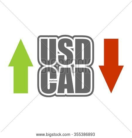 Financial Market Trading Concept. Currency Pair. Acronym Cad - Canadian Dollar Currency. Acronym Usd