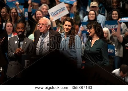 Saint Louis, MO, USA - March 9, 2020: Senator Bernie Sanders with supporters at the Bernie 2020 Rally in Downtown Saint Louis.