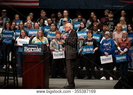 Saint Louis, MO, USA - March 9, 2020: Senator Bernie Sanders addresses supporters at the Bernie 2020 Rally in Downtown Saint Louis.