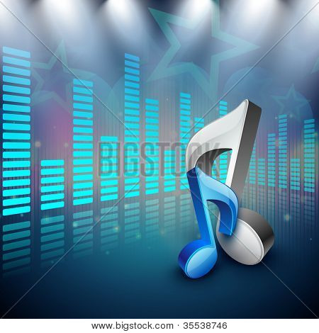 3D music notes on creative colorful music background. EPS 10. poster