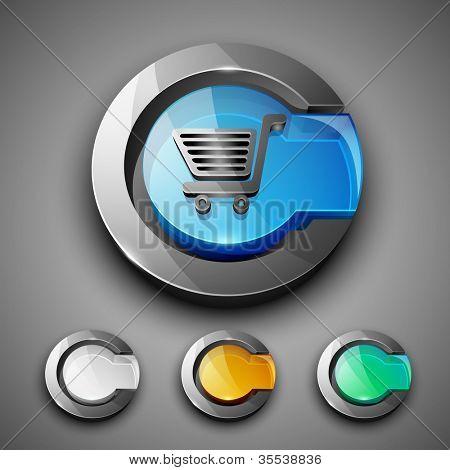 Glossy 3D web 2.0 shopping cart symbol icon set. EPS 10.