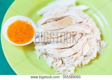 Traditional Asian Chinese Street Food: Khao Man Kai (kao Man Gai) Is Hainanese Chicken Rice, Steamed