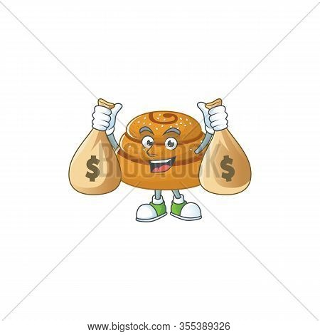 Happy Rich Kanelbulle Mascot Design Carries Money Bags