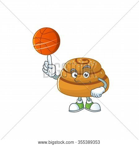 Attractive Kanelbulle Cartoon Character Design With Basketball