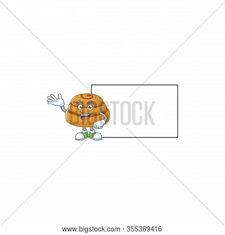 Kanelbulle With Board Cartoon Mascot Design Style