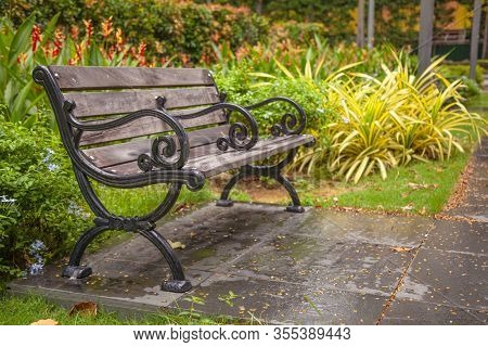 A Wooden Bench In The Middle Of Beautiful Blooming Ornamental Flower Gardens Of A Natural Public Par