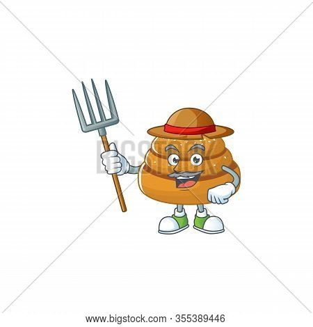 Kanelbulle In Farmer Mascot Design With Hat And Pitchfork