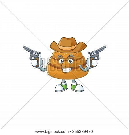 Cool Cowboy Cartoon Design Of Kanelbulle Holding Guns