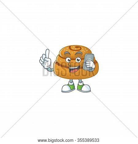A Sweet Kanelbulle Cartoon Design Style Speaking On Phone