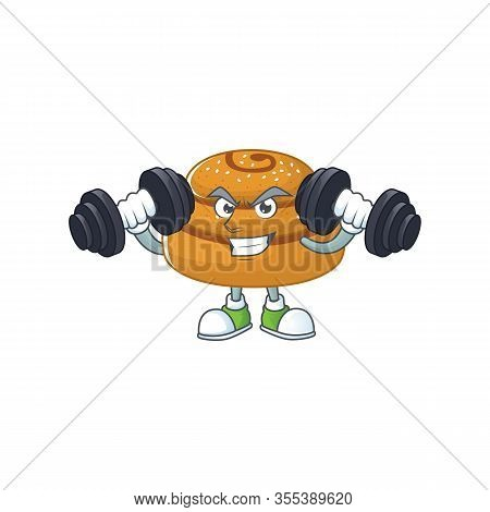Mascot Design Of Grinning Fitness Exercise Kanelbulle Lift Up Barbells