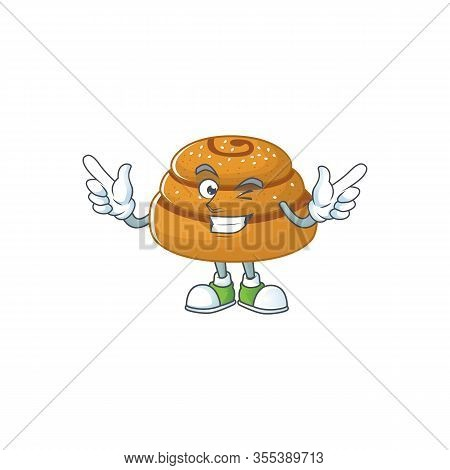 Funny Kanelbulle Cartoon Design Style With Wink Eye Face
