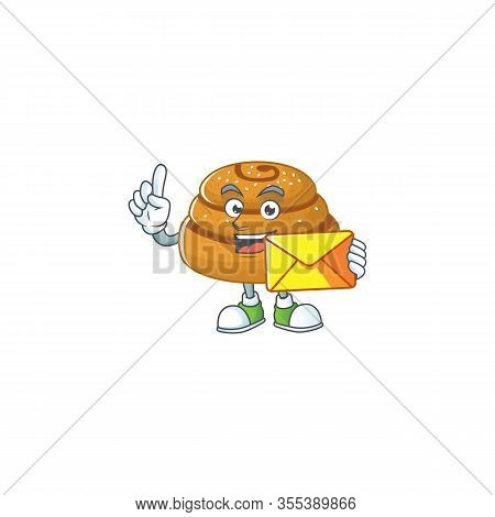 Cute Face Kanelbulle Mascot Design Holding An Envelope