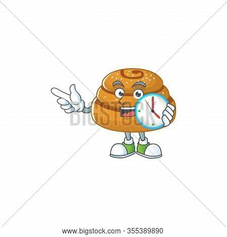 Cartoon Character Style Of Cheerful Kanelbulle With Clock