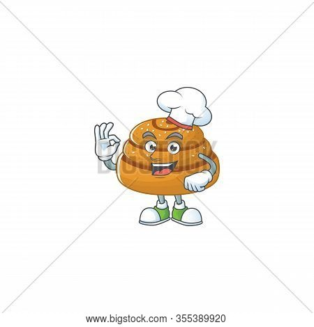 A Picture Of Kanelbulle Cartoon Character Wearing White Chef Hat