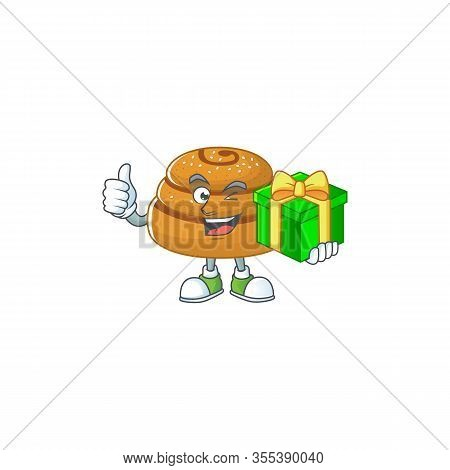 Cheerful Kanelbulle Cartoon Character Holding A Gift Box