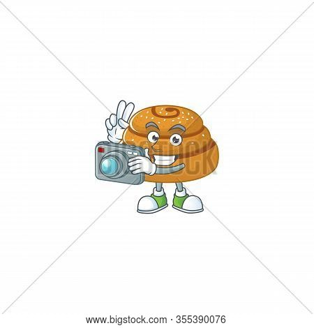 Kanelbulle Mascot Design As A Professional Photographer With A Camera
