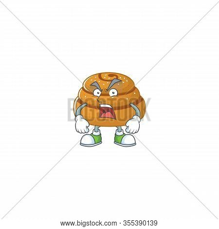 Kanelbulle Mascot Design Concept Showing Angry Face