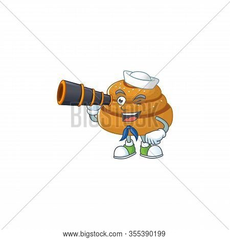 Kanelbulle In Sailor Cartoon Character Design With Binocular