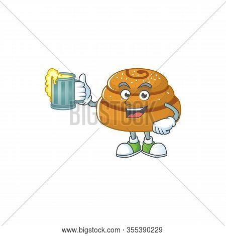 A Cartoon Concept Of Kanelbulle With A Glass Of Beer