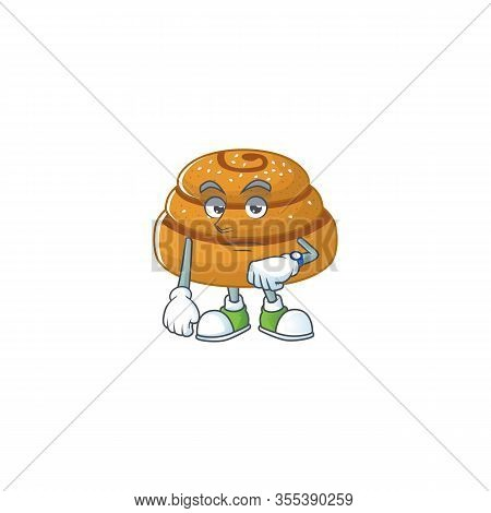 A Cartoon Icon Of Kanelbulle With Waiting Gesture