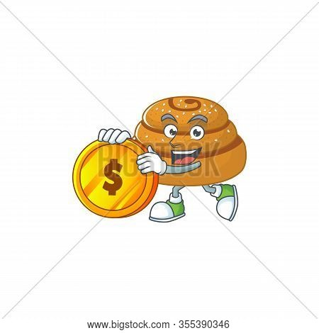Mascot Cartoon Character Style Of Kanelbulle Showing One Finger Gesture