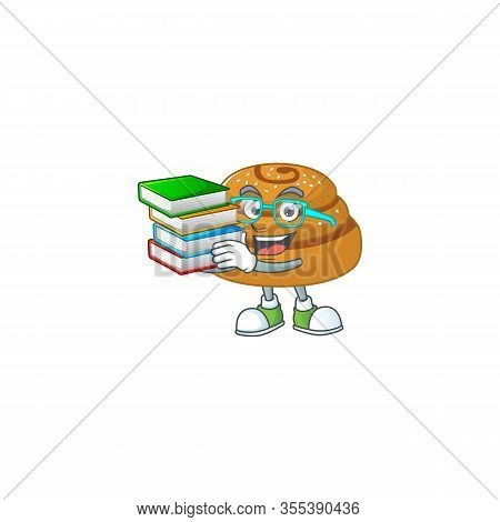 A Hard-working Student In Kanelbulle Cartoon Design With Book
