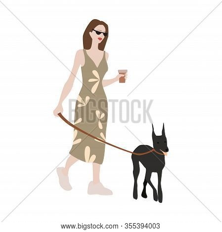 Hipster Girl Cartoon Character On A Walking With A Dog Doberman Pinscher.vector Illustration In A Fl