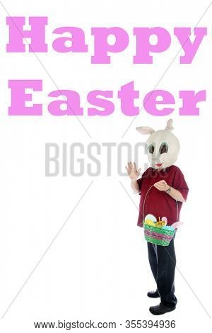 Easter Bunny. Happy Easter Bunny Man holds a gift basket of Easter Treats. Isolated on white. Room for text. Happy Easter to everyone. Text is removable and replaced by your own.