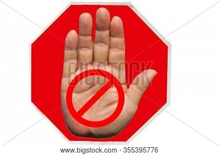 Coronavirus19. Coronavirus Stop Sign. Red USA Stop Sign with Generic Stop Symbol. Isolated on white. Clipping Path.  Human Hand with International Stop Symbol on a red sign.