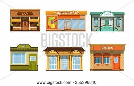 City Buildings Facades Collection, Cafe, Supermarket, Score, Bakehouse Vector Illustration