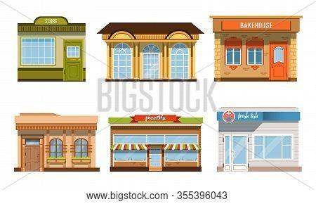 City Buildings Facades Collection, Pizzeria, Fresh Fish, Score, Bakehouse Vector Illustration