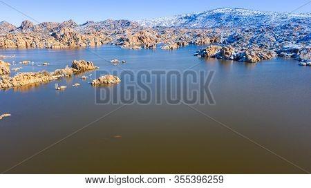 The Granite Dells In Winter At Watson Lake In Prescott Arizona.