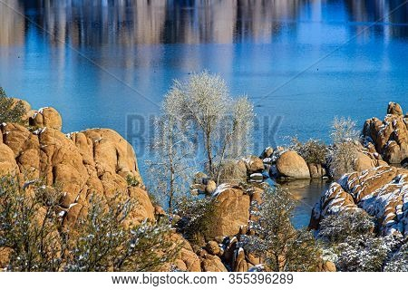 A Tree Between The Rocks At Watson Lake With Blue Water In The Background.