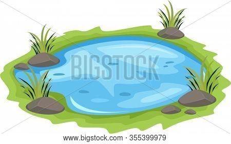 Natural Pond Illustration cartoon outdoor scene