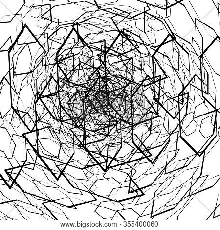 Abstract Chaos Background With Mess Of Geometric Figure. Stylized Random Design Elements On White. V