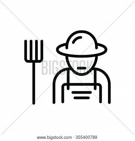 Black Line Icon For Farmer Peasant Agriculturist Husbandman Grain-grower Grower Planter