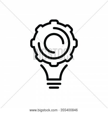 Black Line Icon For Implement Appliance Utensil Contraption Solution Cogwheel Idea Conceptualize Con