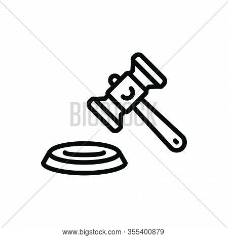Black Line Icon For Lawsuit Legal-action Proceedings Litigation Hammer Judgement Authority