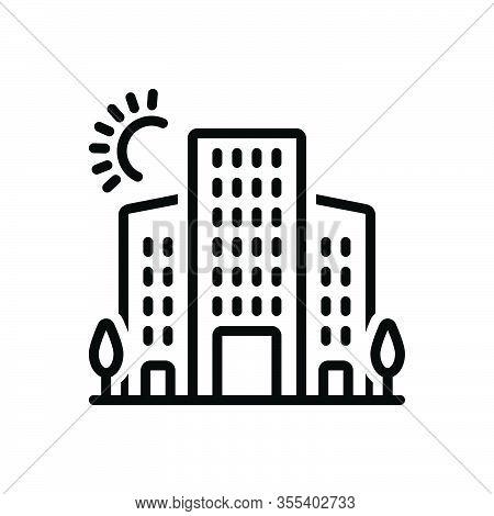 Black Line Icon For Urban  Oppidan Citizen Townsman Denizen Metropolitan Central Building Hotel