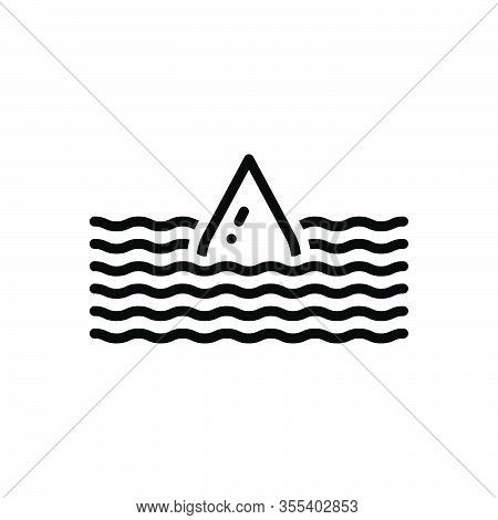 Black Line Icon For Deep Submerge Water-wave Flood Torrent Yawning Bottomless Sunk