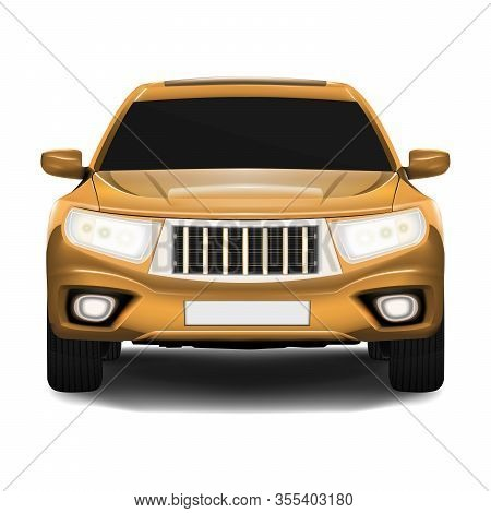 Suv Car Front View Isolated On White. Realistic Vector.