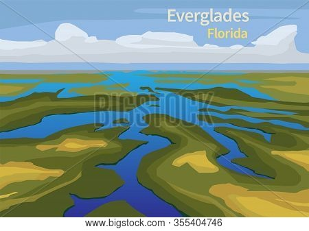Landscape Of Everglades Saw Grass, Water, And Clouds In Everglades National Park, Florida, United St