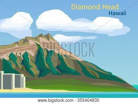 Diamond Head Crater On The Hawaiian Island Of Oahu, United States, Vector Illustration