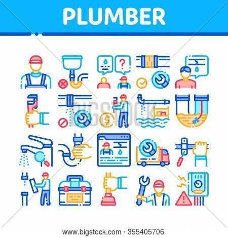 Plumber Profession Collection Icons Set Vector. Plumber Worker And Equipment, Faucet And Pipe Resear