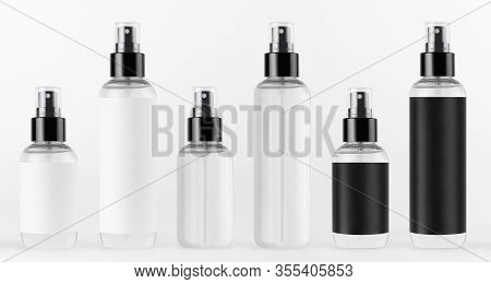 Collection Tall And Low Spray Dispenser Bottles For Cosmetics - Transparent And With Black, White La
