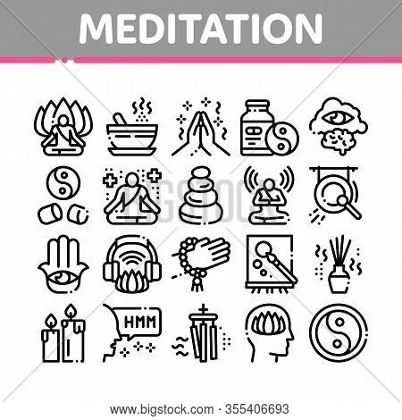 Meditation Practice Collection Icons Set Vector. Meditation Yoga Relaxation Aromatic Therapy, Human