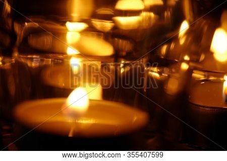 candle lights in the glass