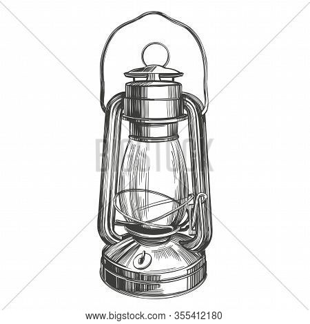 Kerosene Lamp, Vintage Decorative Decoration, Symbol Of Light Hand Drawn Vector Illustration Realist