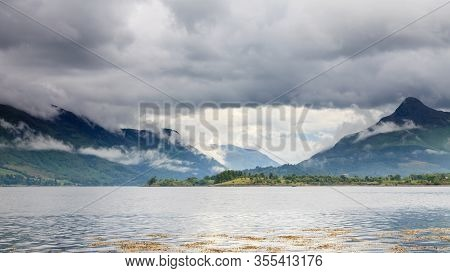 Loch Leven.  The View Across Loch Leven To The Pap Of Glencoe In The Scottish Highlands.  Loch Leven