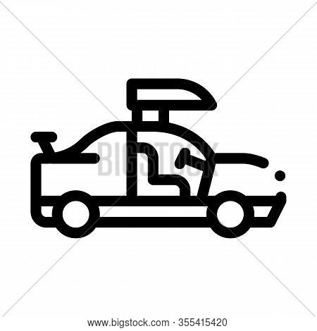 Car Door Tuning Icon Vector. Outline Car Door Tuning Sign. Isolated Contour Symbol Illustration